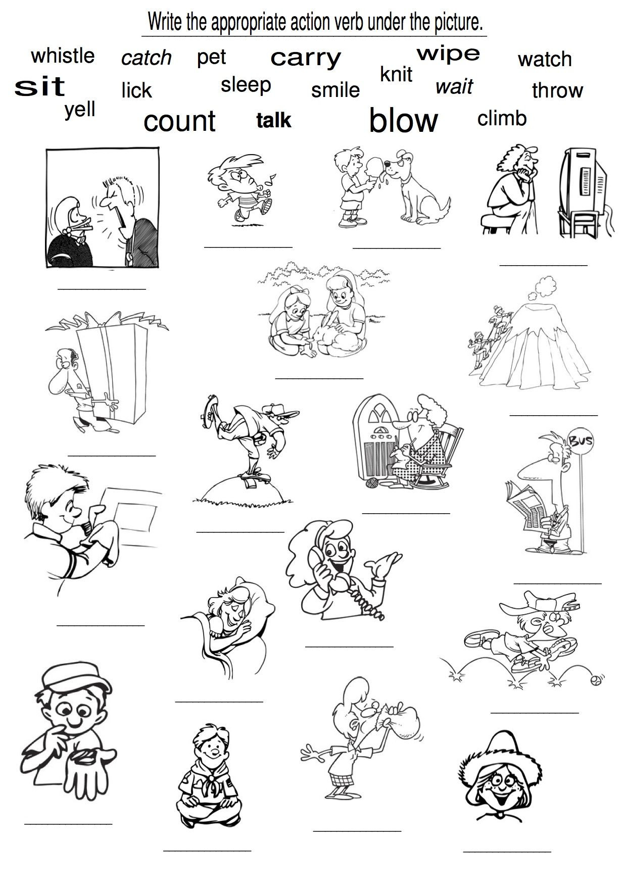 Verbs Worksheets for 1st Grade Examples Of Action Verbs