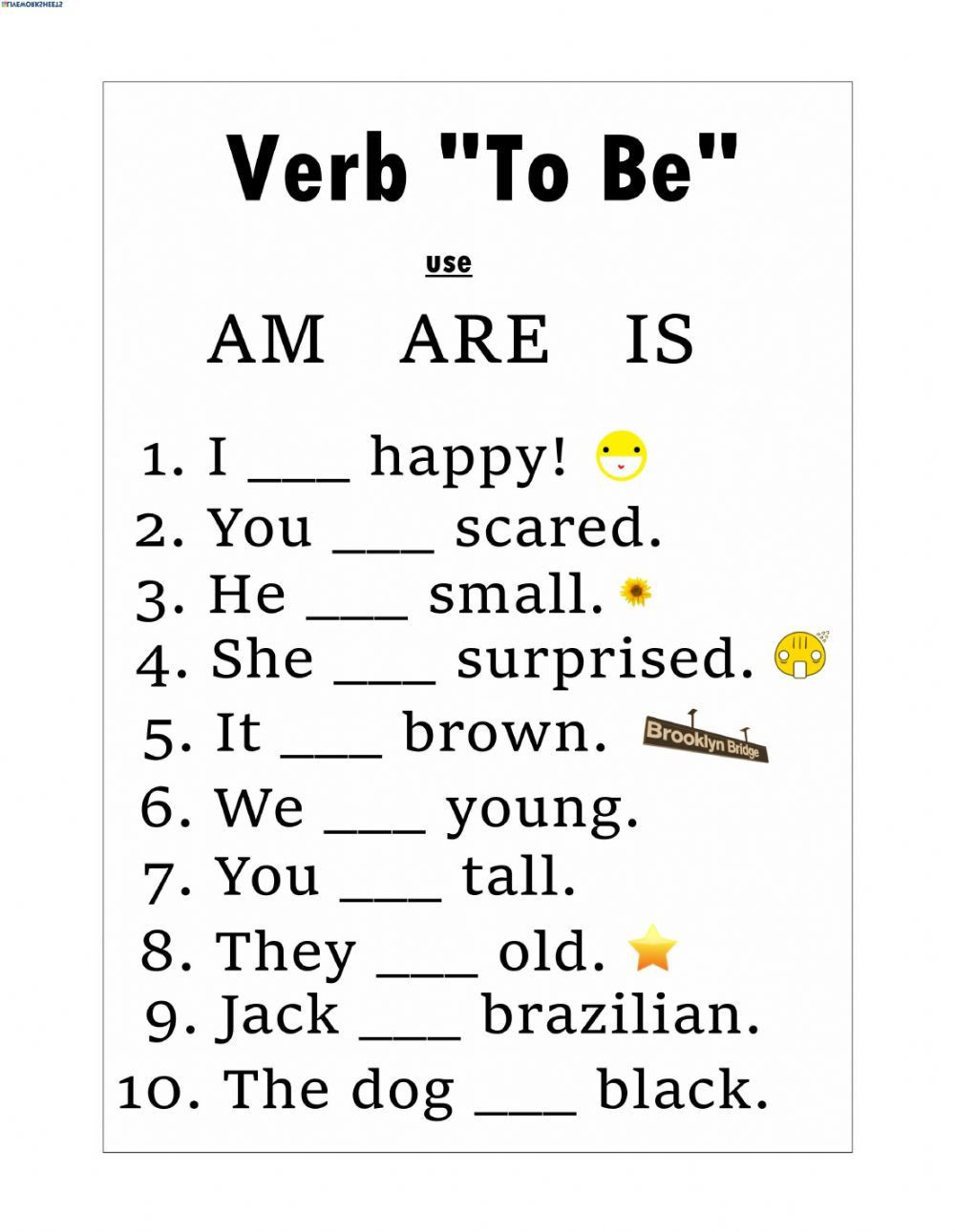 Verbs Worksheets for 1st Grade Verb to Be Interactive and Able Worksheet You Can