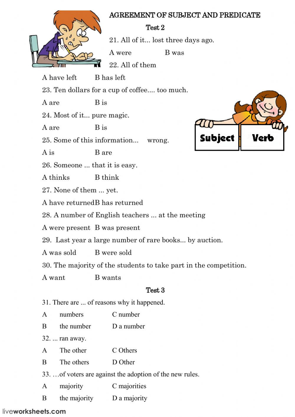 Verbs Worksheets for Middle School 6th Grade Probability theme Worksheets Grade 3 Subject Verb