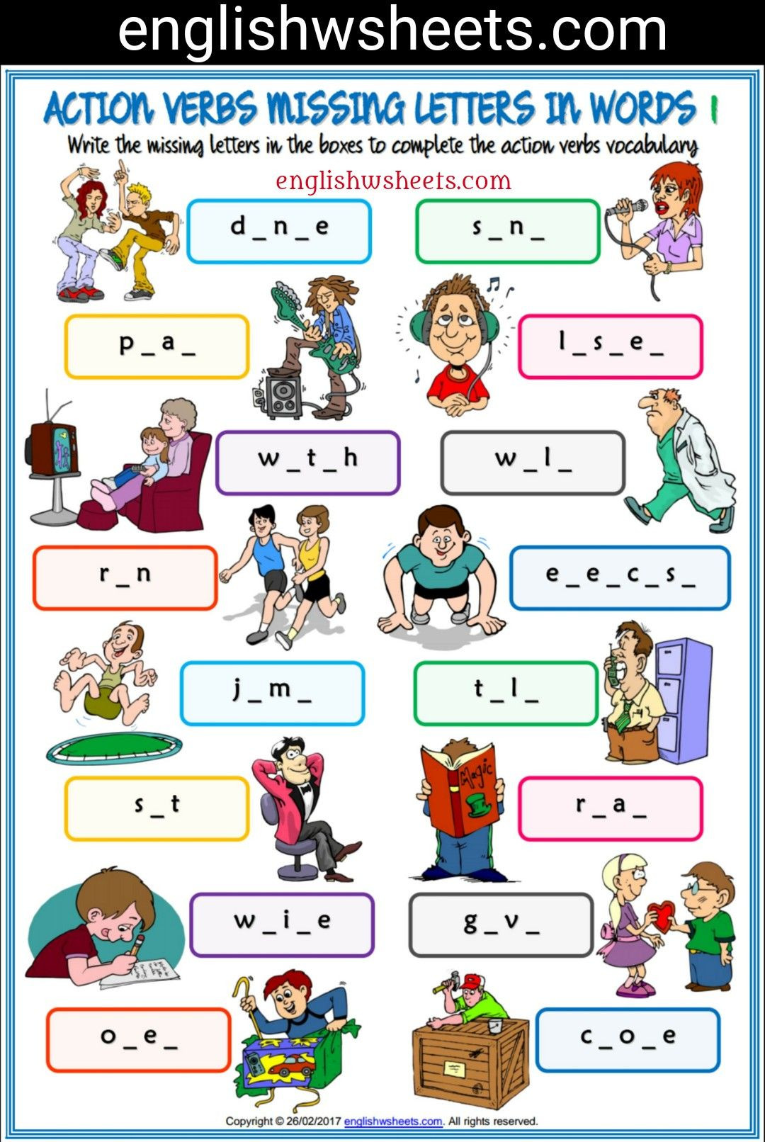 Verbs Worksheets for Middle School Action Verbs Esl Printable Missing Letters In Words