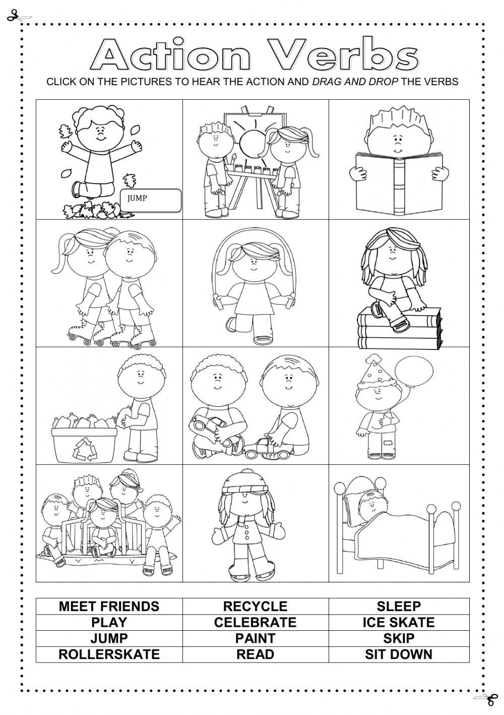 Verbs Worksheets for Middle School Action Verbs Interactive and Able Worksheet Check