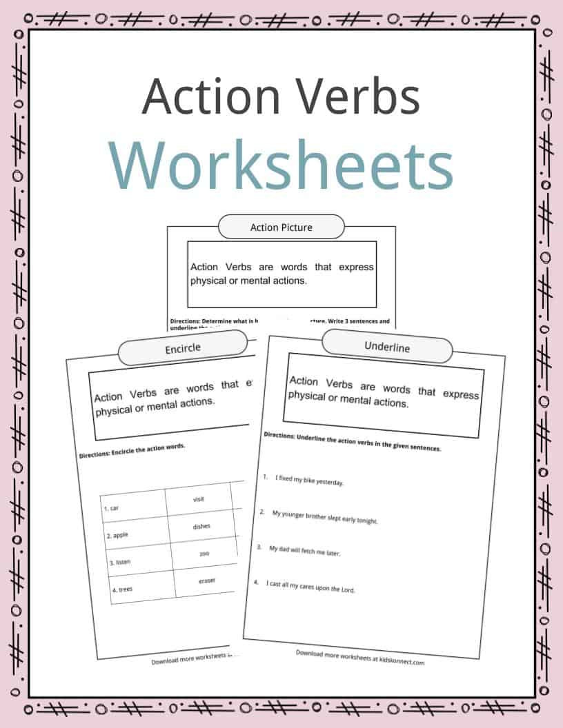 Verbs Worksheets for Middle School Action Verbs Worksheets Examples Sentences & Definition