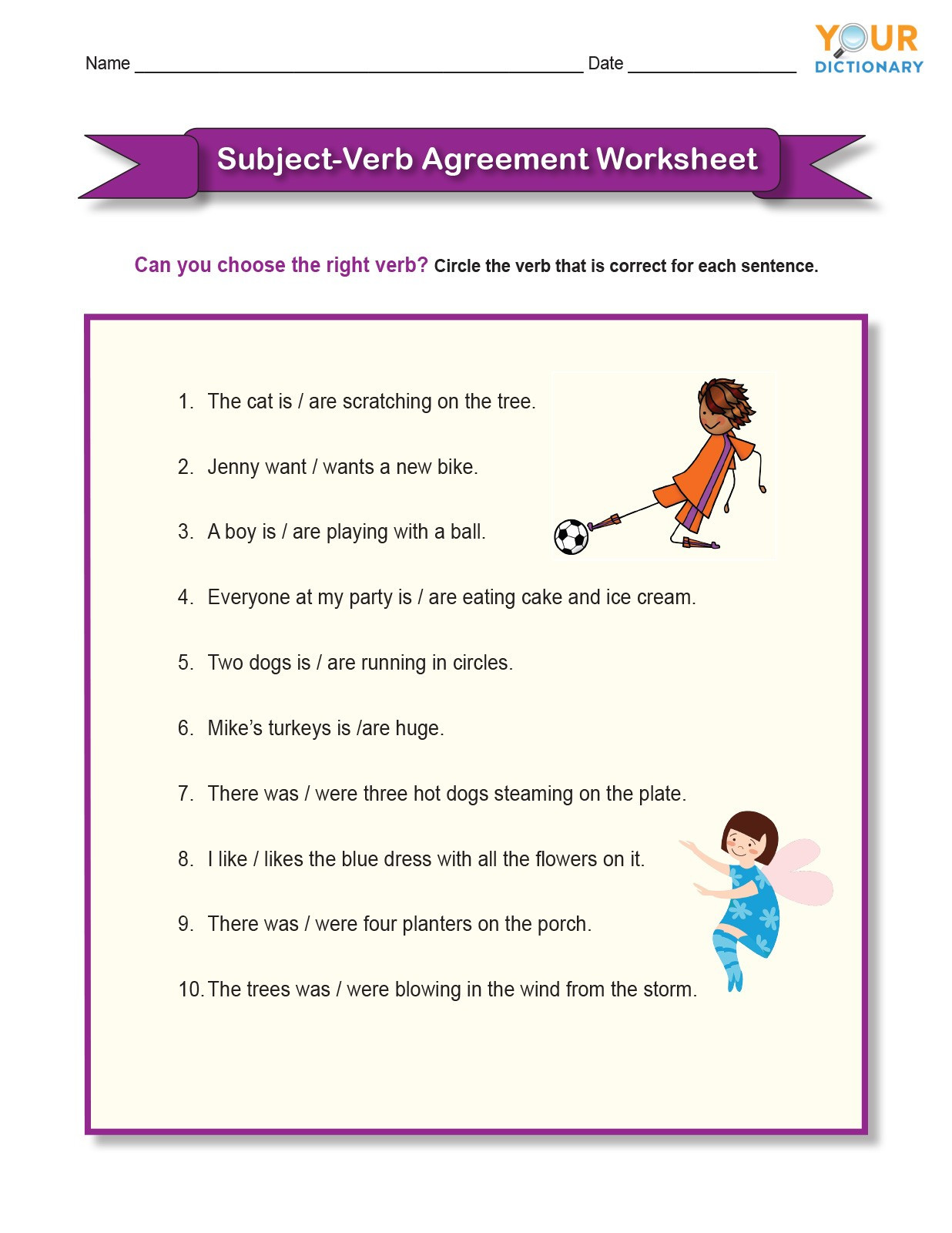 Verbs Worksheets for Middle School Subject Verb Agreement Worksheet