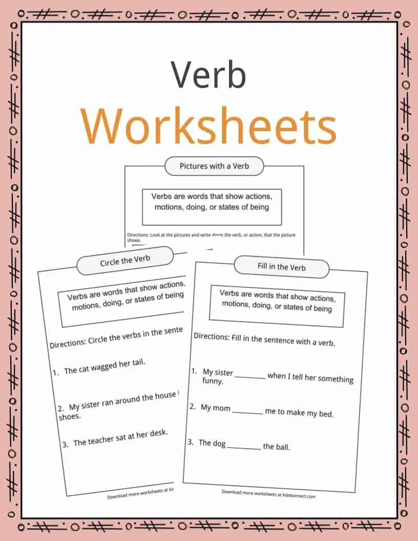 Verbs Worksheets for Middle School Verbs Definition Worksheets & Examples In Text for Kids