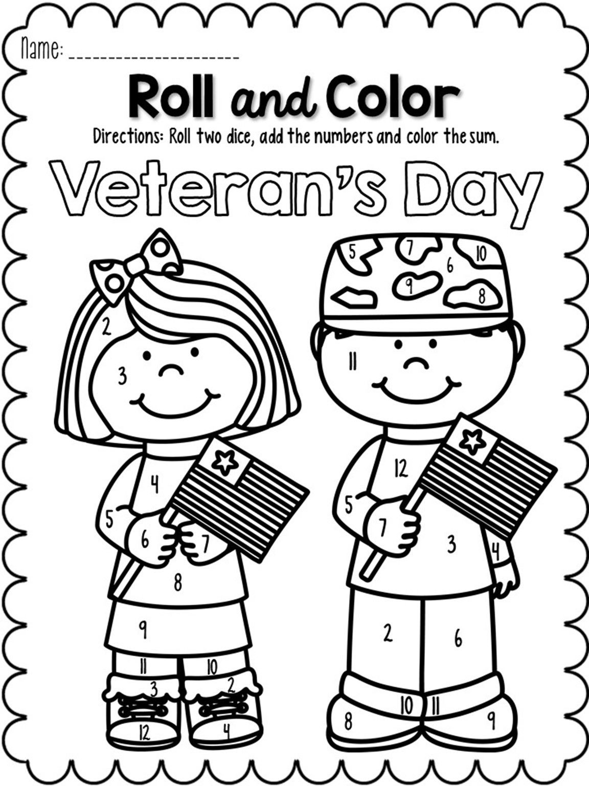 Veterans Day Math Worksheets Roll and Color November
