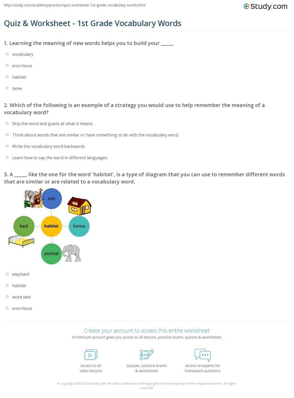 Vocabulary Worksheets for 1st Graders Math Worksheet Quiz Worksheet 1stade Vocabulary Words