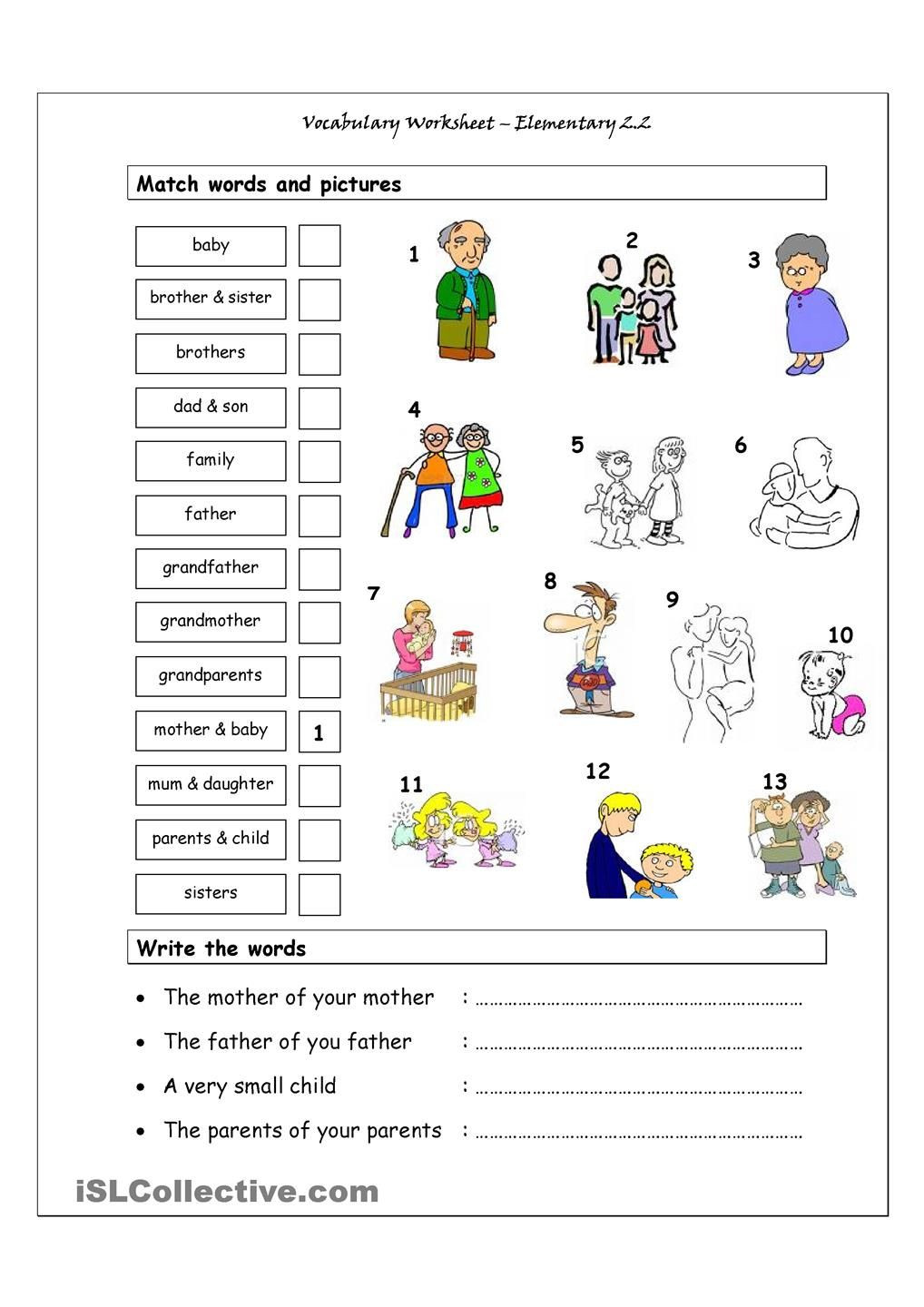 Vocabulary Worksheets for 1st Graders Vocabulary Matching Worksheet Elementary 2 2 Family