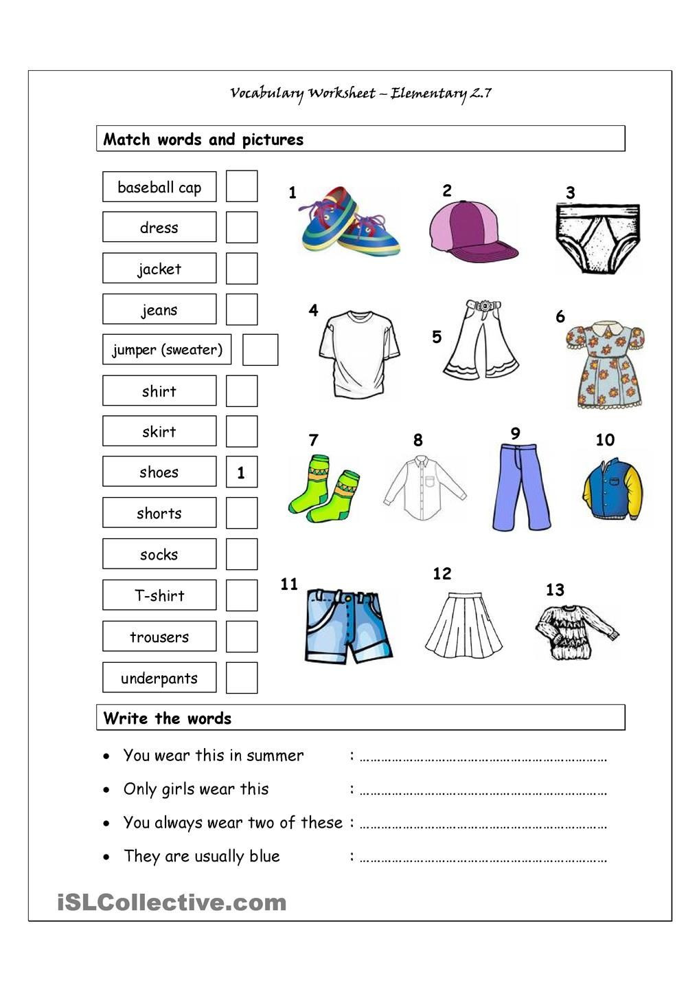 Vocabulary Worksheets for 1st Graders Vocabulary Matching Worksheet Elementary 2 7 Clothes