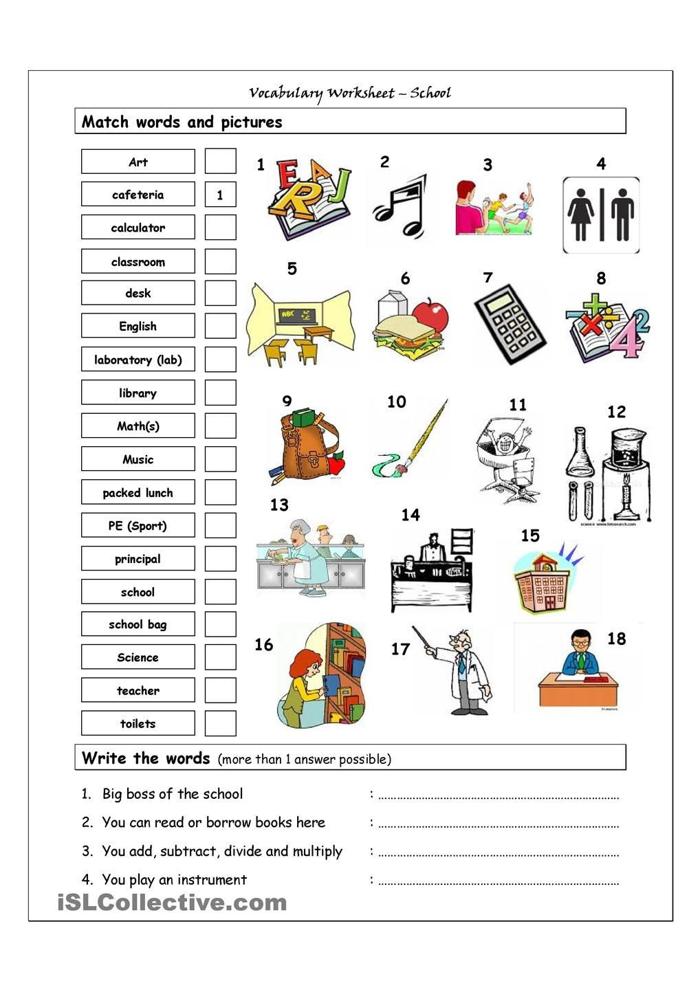 Vocabulary Worksheets for 1st Graders Vocabulary Matching Worksheet School