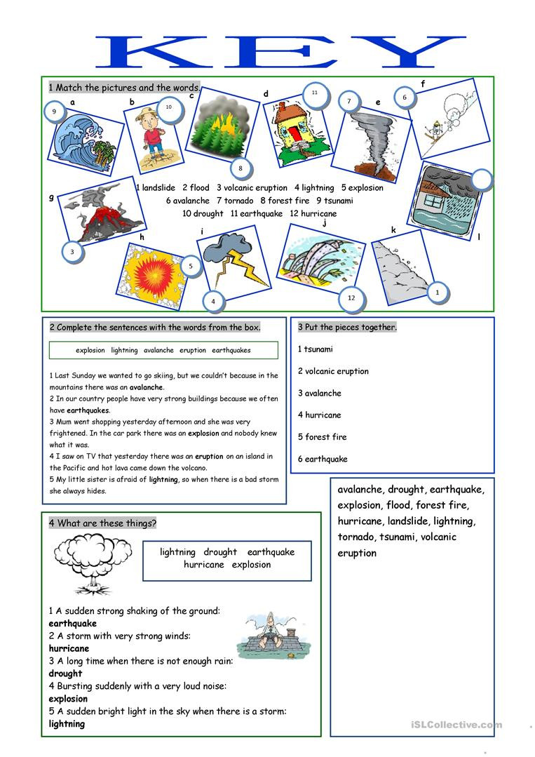 Volcano Worksheets High School Natural Disasters Vocabulary Exercises English Esl