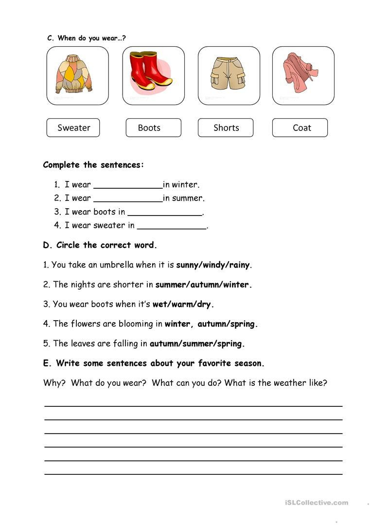 Weather Worksheets for 3rd Grade Seasons and Weather Worksheet Free Esl Printable