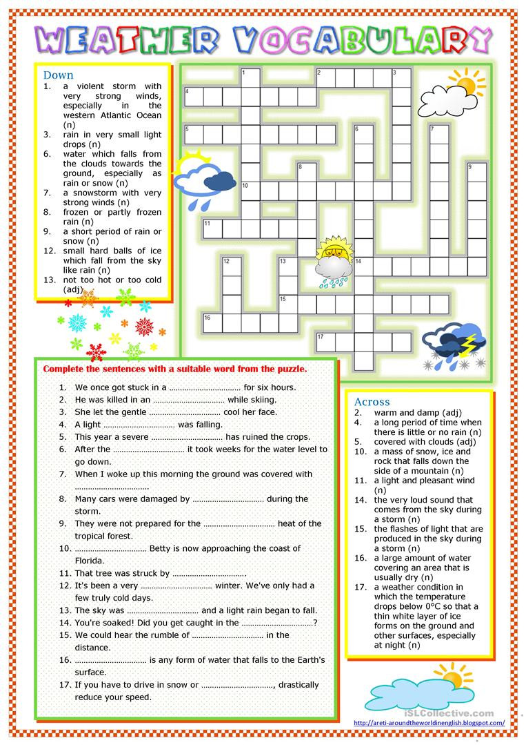 Weather Worksheets for 3rd Grade Worksheet Weather Vocabulary