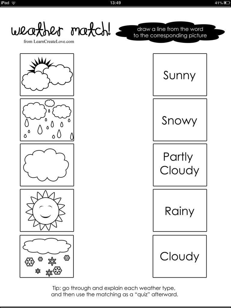 Weather Worksheets for First Graders Weather Word and Picture Match