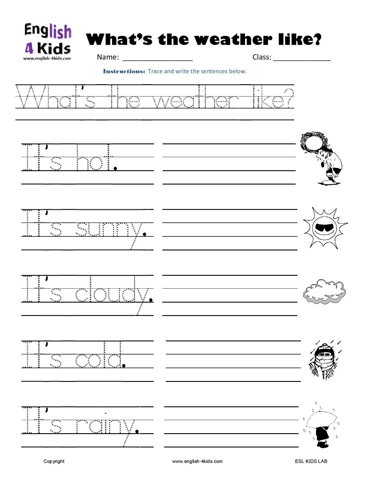 Weather Worksheets for First Graders Weather Writing Page 001