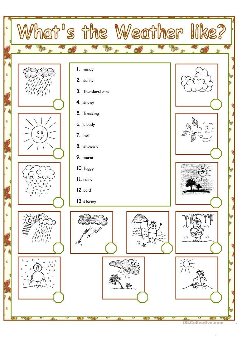 Weather Worksheets for First Graders What S the Weather Like Worksheet Free Esl Printable