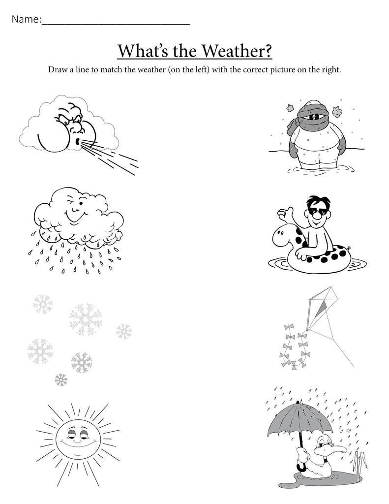 """Weather Worksheets for First Graders What S the Weather """" Printable Matching Worksheet"""