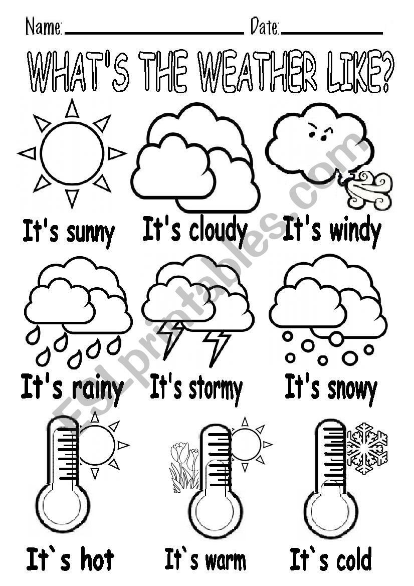 Weather Worksheets for First Graders What´s the Weather Like Worksheet