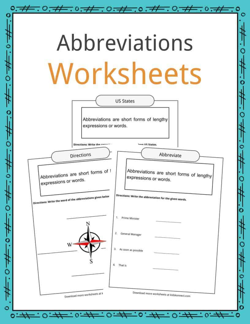 Word form Worksheets 4th Grade Abbreviations Worksheets Examples & Definition for Kids