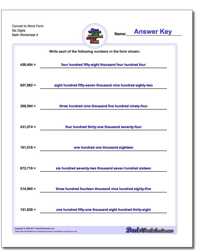 Word form Worksheets 4th Grade Convert to Word form Worksheet Six Digits Standard