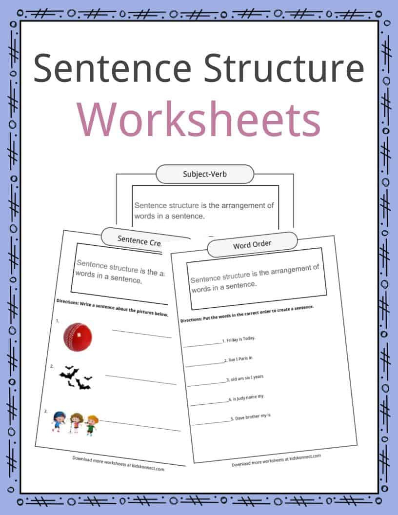 Word form Worksheets 4th Grade Sentence Structure Worksheets Examples & Definition for Kids