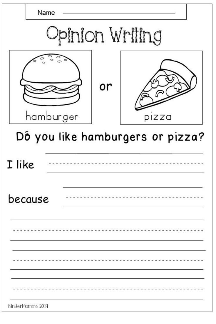 Writing Sheets for 1st Graders Free Opinion Writing Worksheet