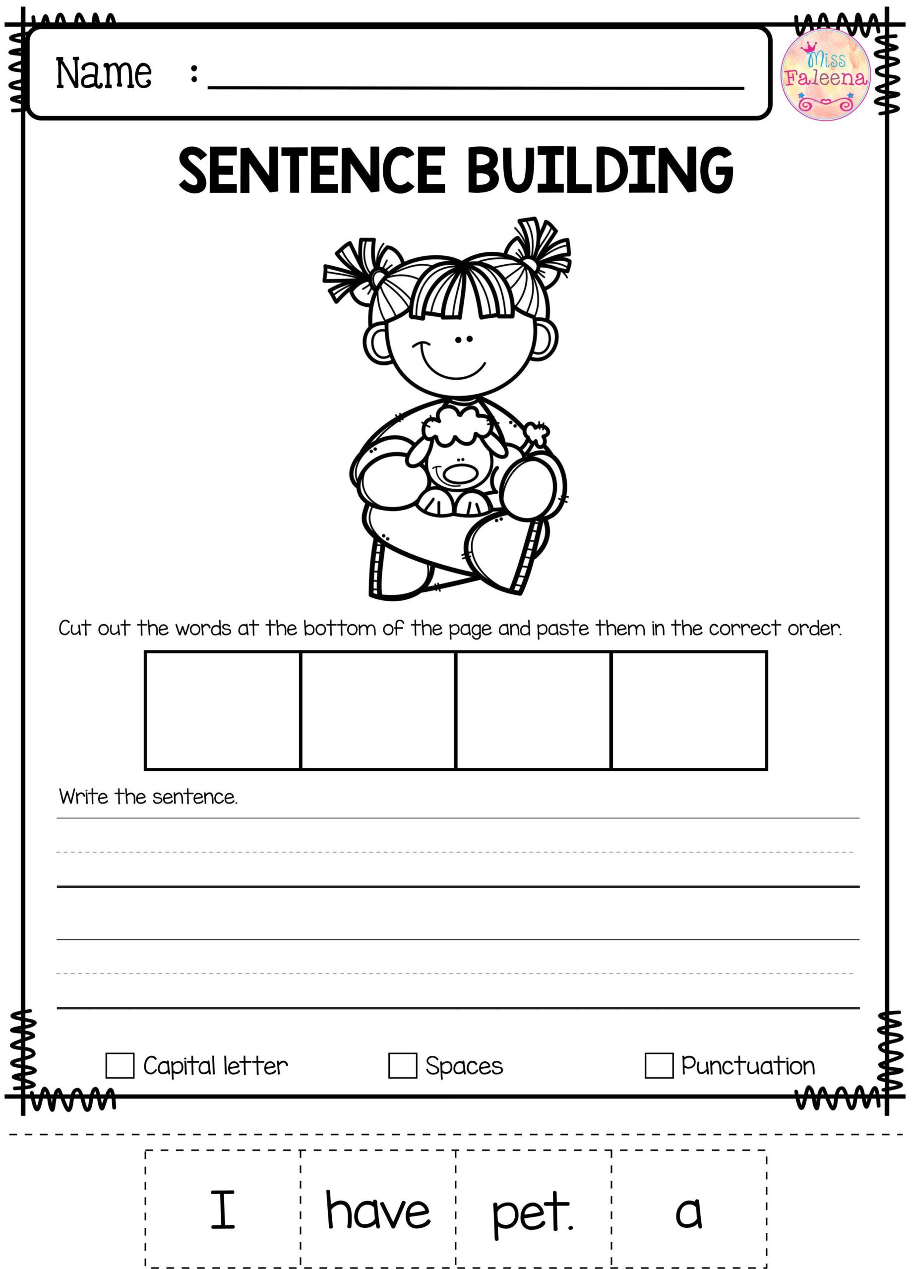 Writing Worksheets First Grade 2nd Grade Kindergarden School Paring Objects Worksheets