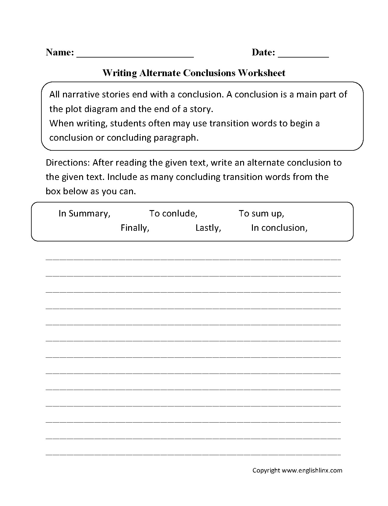 Writing Worksheets for 5th Grade 027 Englishlinx Writing Conclusions Worksheets Pertaining to