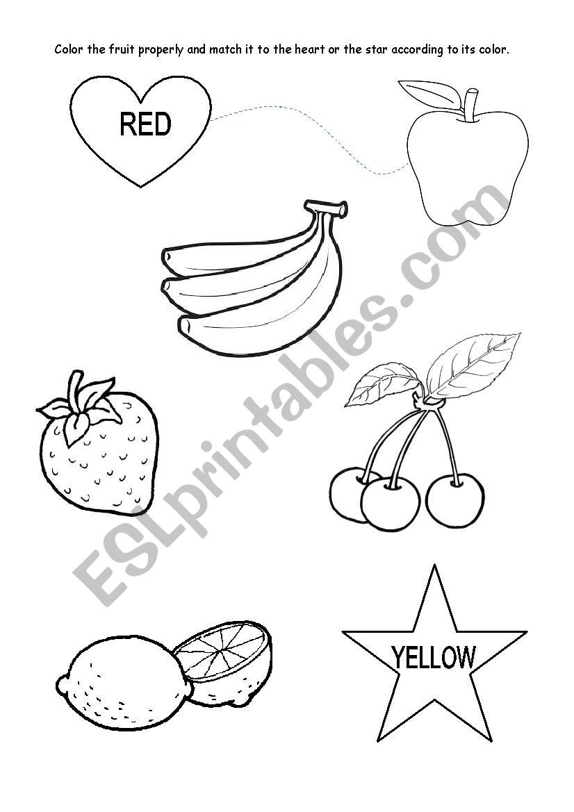 Yellow Worksheets for Preschool Colours Red and Yellow Kindergarten Esl Worksheet by