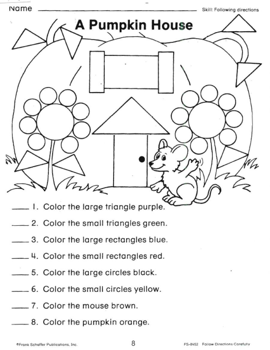 Yellow Worksheets for Preschool Following Directions Worksheets Shapes