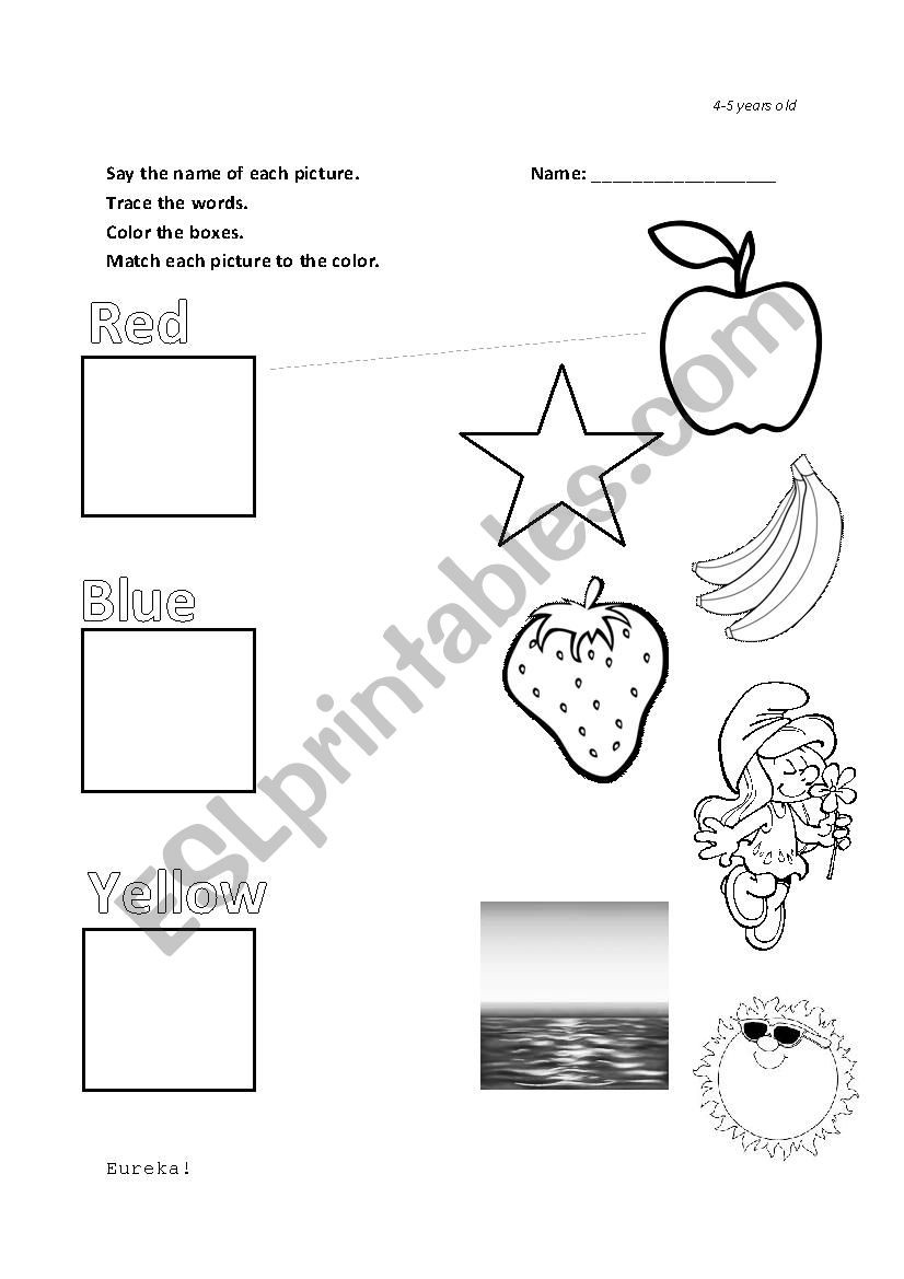 Yellow Worksheets for Preschool Red Blue Yellow Kinder Matching Esl Worksheet by Hodizzle