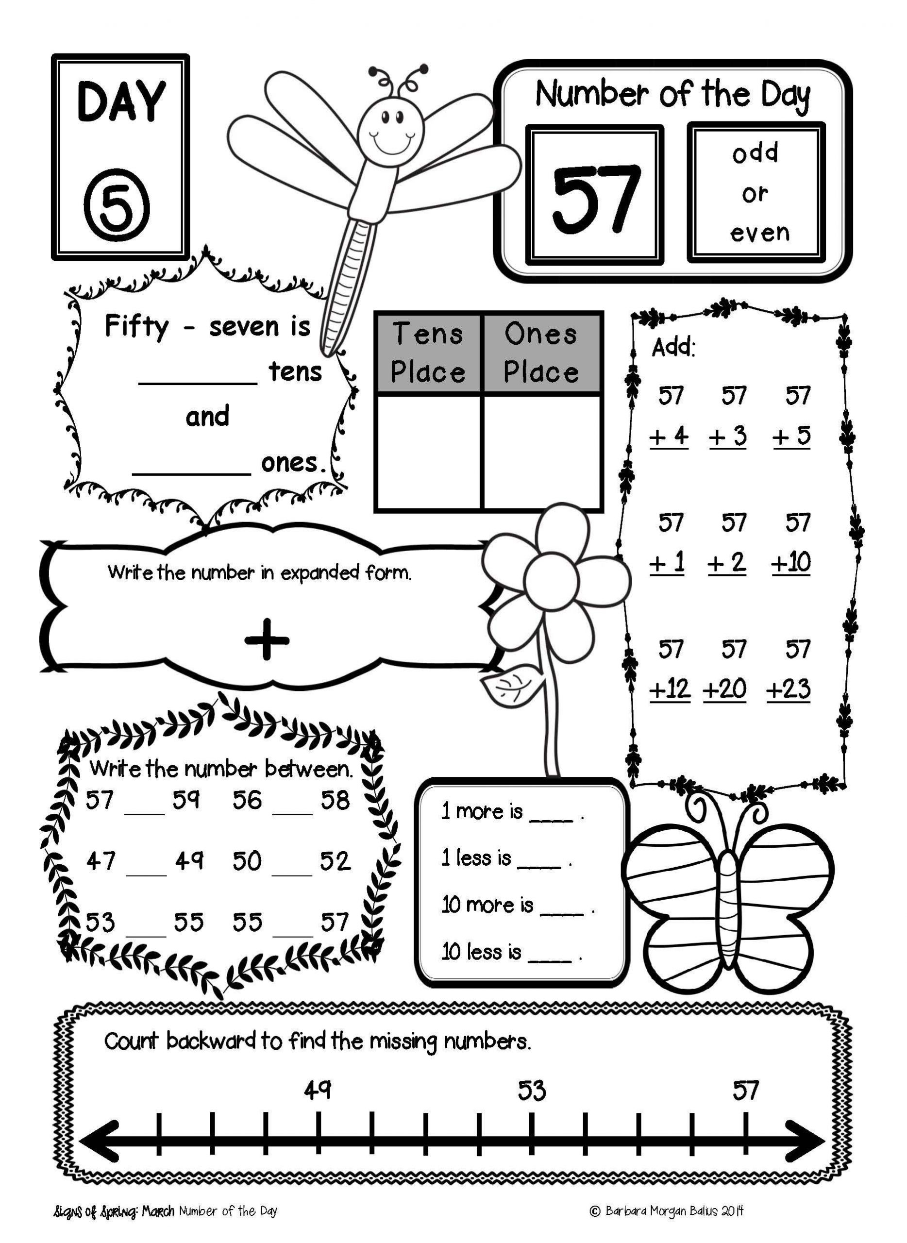 1st Grade Morning Work Worksheets Morning Work Number Of the Day Place Value Practice First