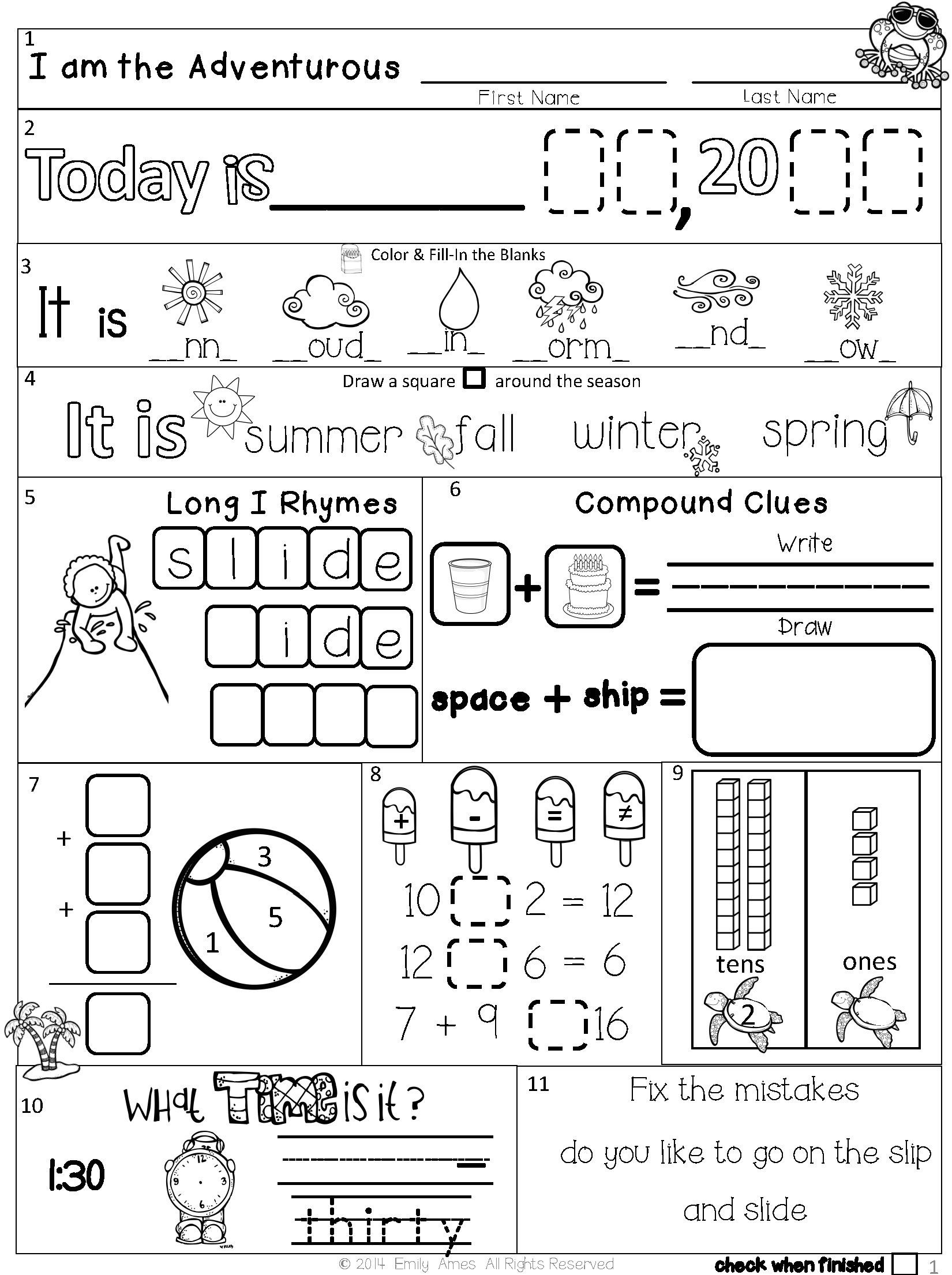 1st Grade Morning Work Worksheets Summer Packet First Second Grade Morning Work