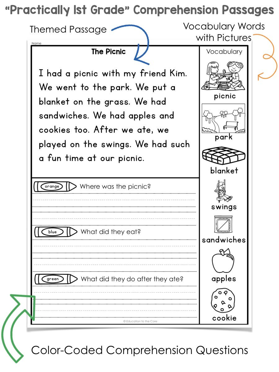 """1st Grade Reading Worksheets Pdf Practically 1st Grade"""" Reading Prehension Passages and"""