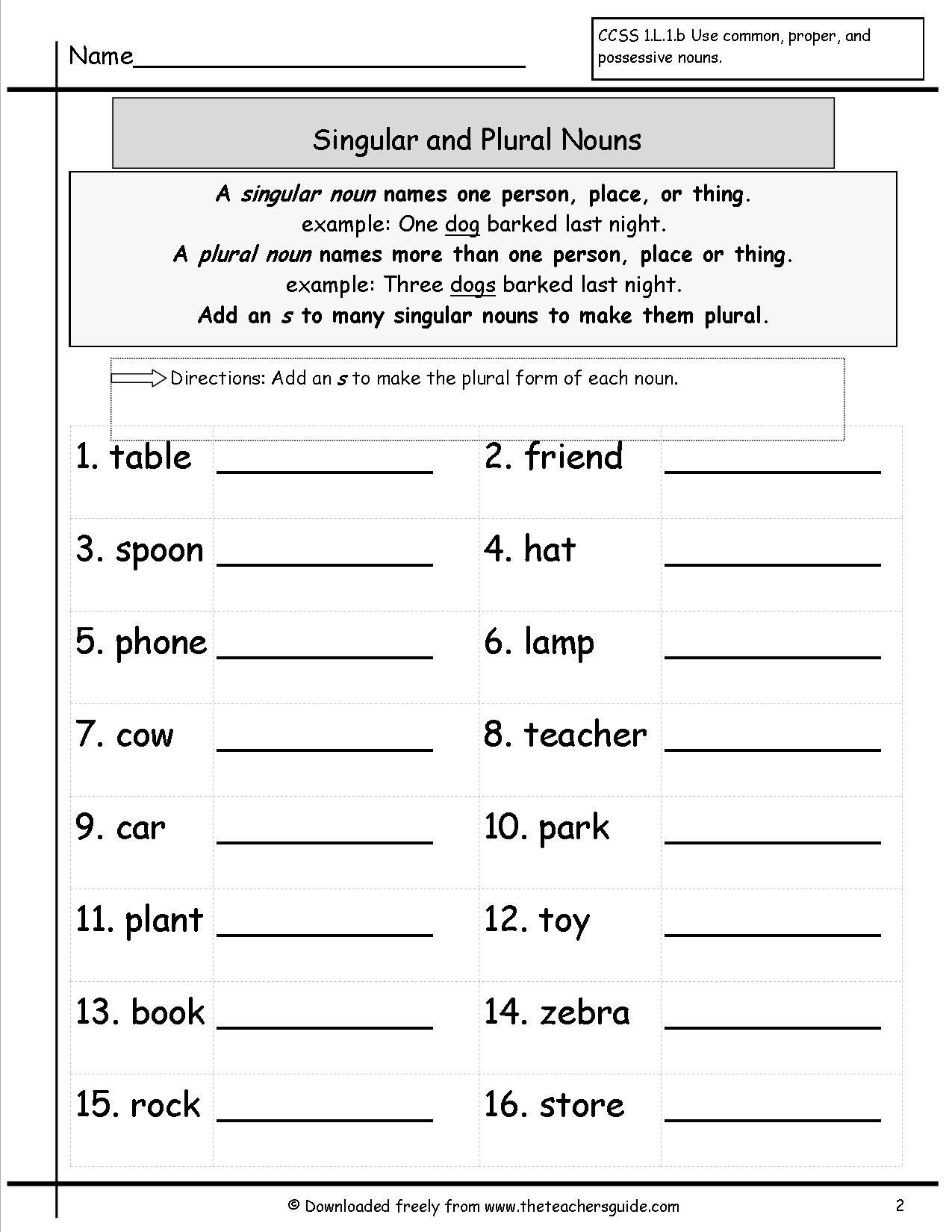 2nd Grade Noun Worksheets Singular and Plural Nouns Worksheets From the Teacher S