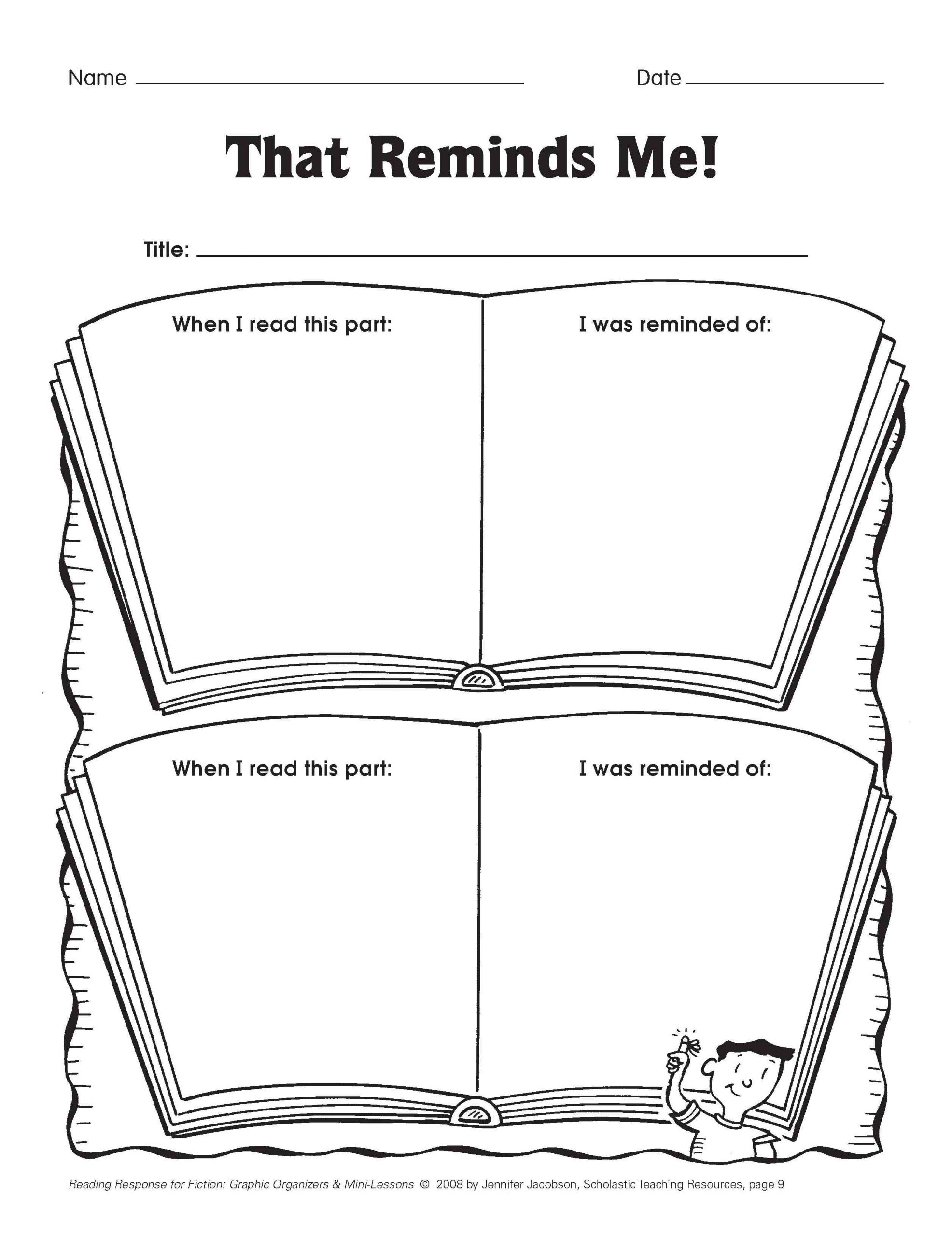 2nd Grade Reading Response Worksheets Five Minute Reading Responses