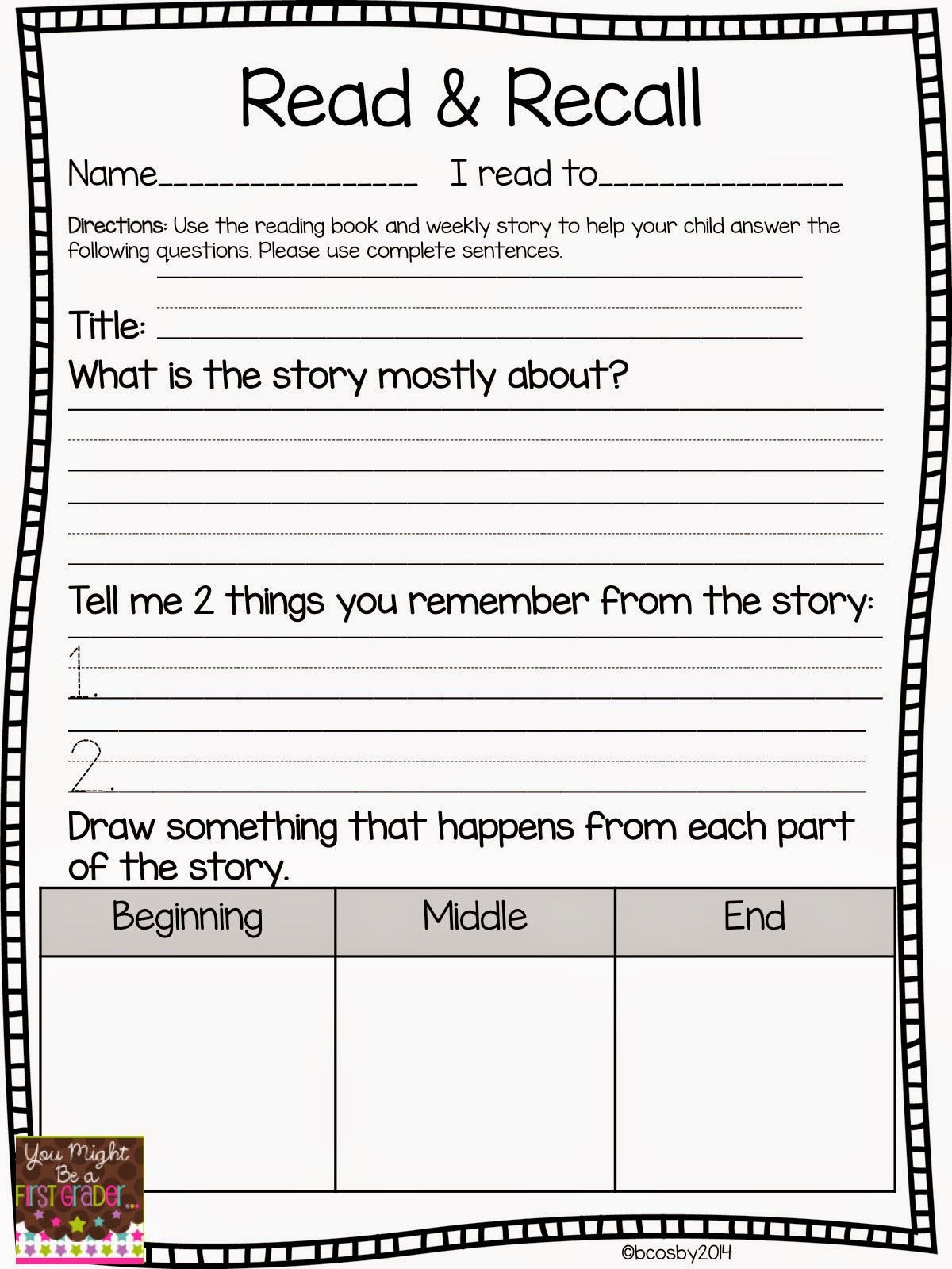 2nd Grade Reading Response Worksheets Reading Prehension You Might Be A First Grader