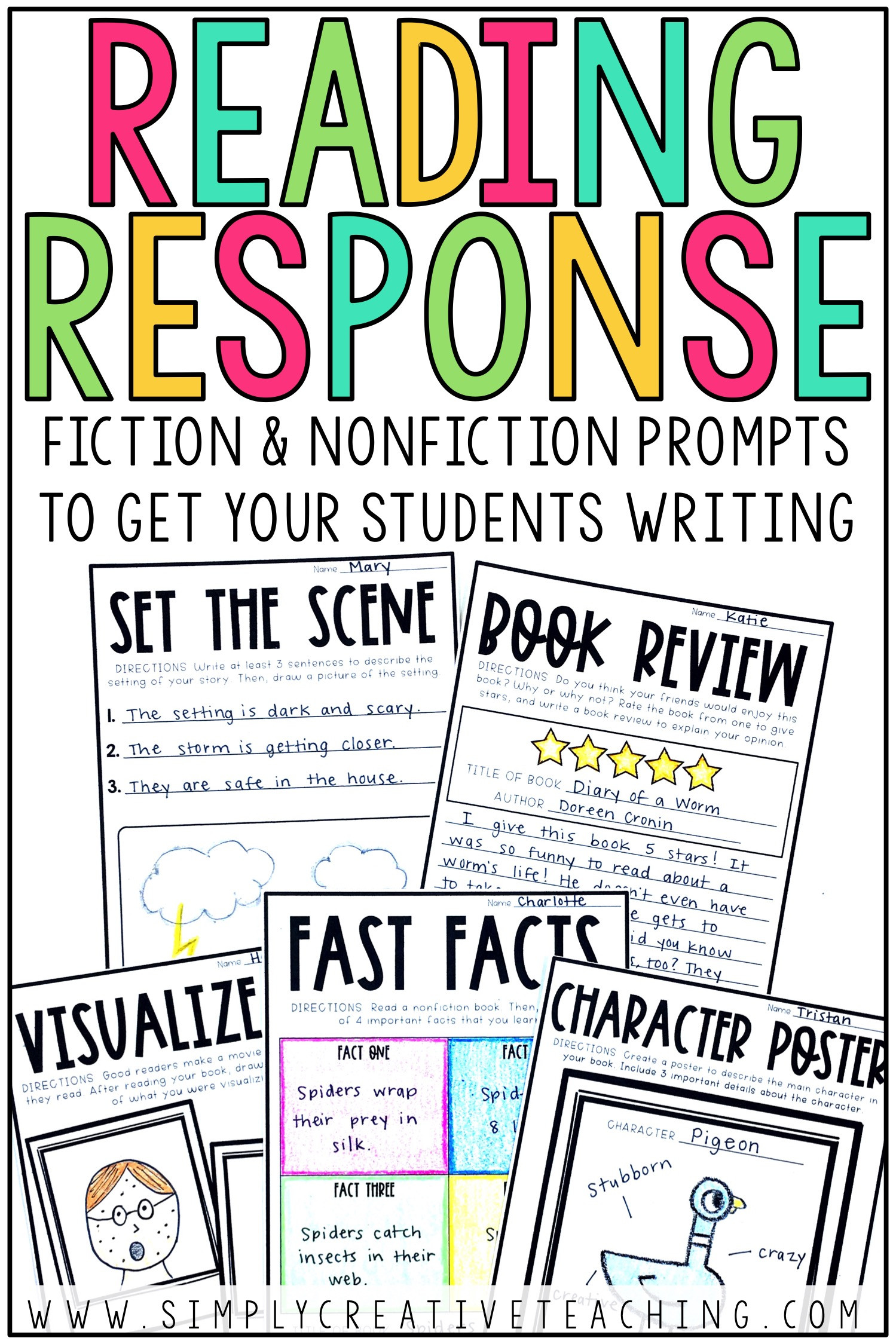 2nd Grade Reading Response Worksheets Reading Response Activities Simply Creative Teaching