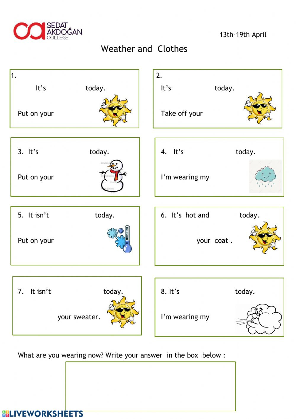 2nd Grade Weather Worksheets Weather and Clothes Interactive Worksheet