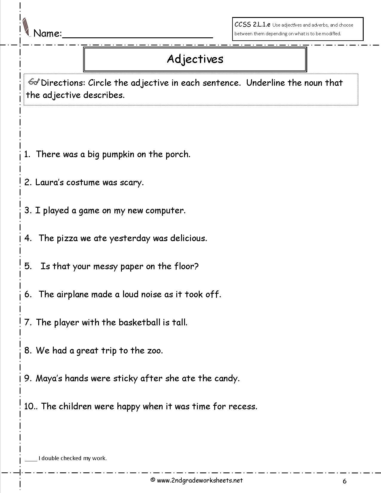3rd Grade Adjectives Worksheets Third Grade Math Test Cute Easy Coloring Pages Adjectives