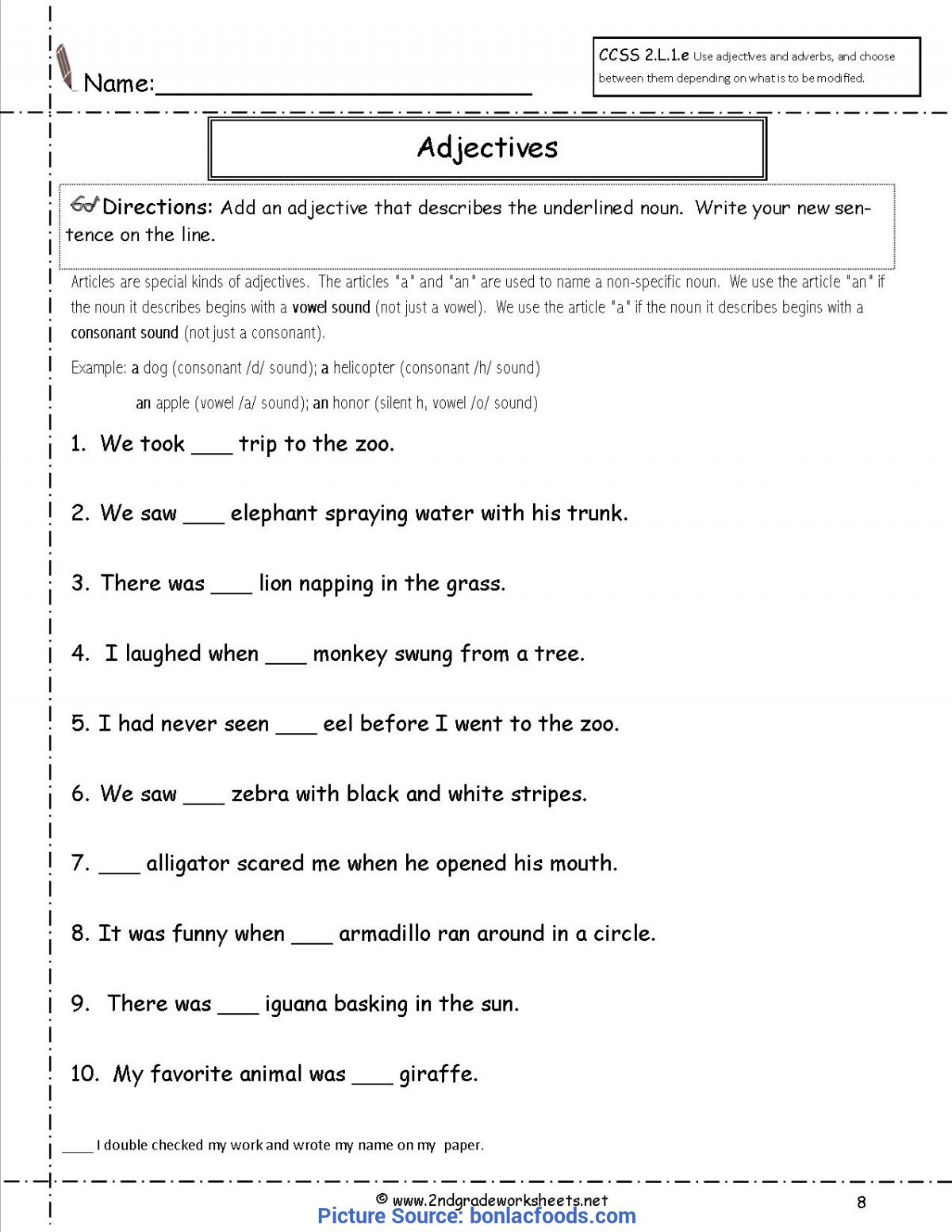 3rd Grade Adjectives Worksheets Valuable 2nd Grade Lesson Plans Adjectives Worksheets for