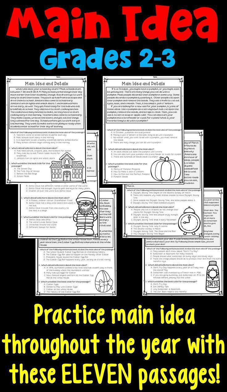 3rd Grade Main Idea Worksheets Main Idea and Supporting Details 11 Monthly Worksheets