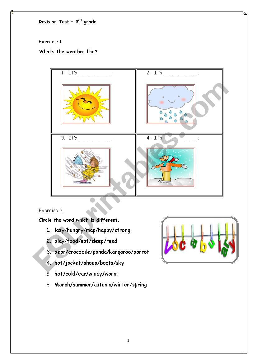 3rd Grade Map Skills Worksheets Revision Test 3rd Grade Vocabulary and Municative Skills