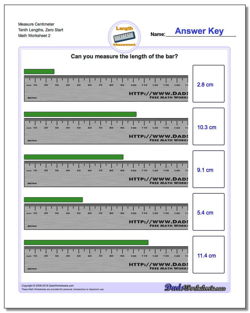 3rd Grade Measuring Worksheets Measure Centimeters From Zero