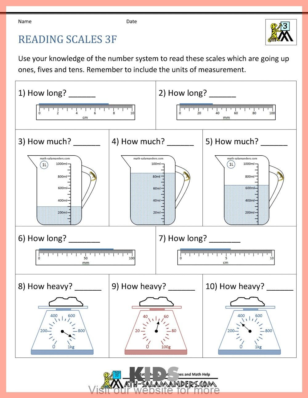 3rd Grade Volume Worksheets Preschool Coloring Pages Alphabet In 2020