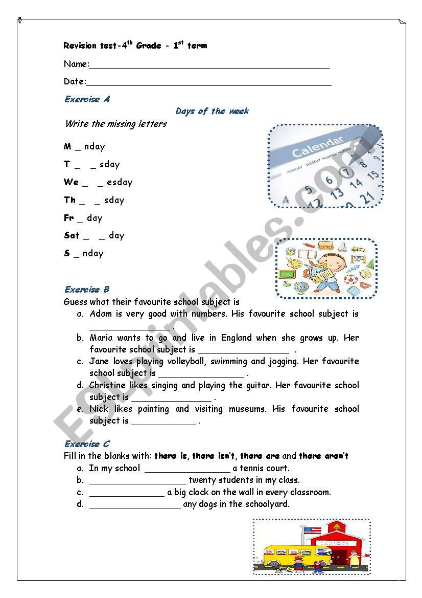 4th Grade Vocabulary Worksheets Pdf Revision Test 4th Grade School Life Esl Worksheet by Maroemma