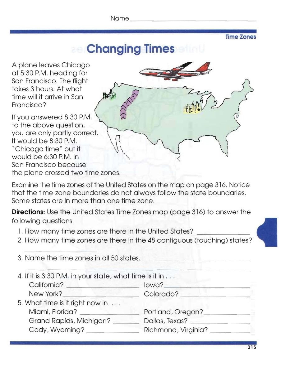 5th Grade Geography Worksheets Global Geography Worksheets 6 Time Zones