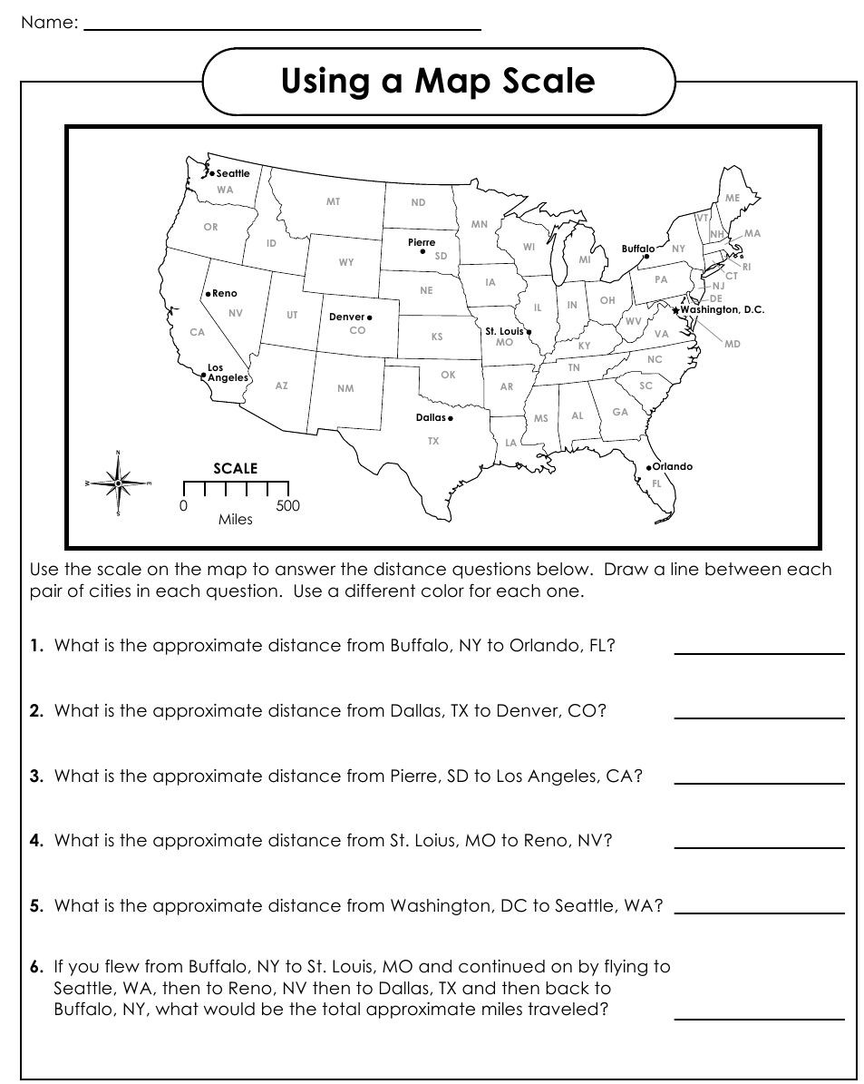 5th Grade Geography Worksheets Using A Map Scale 953—1 195 Pixels