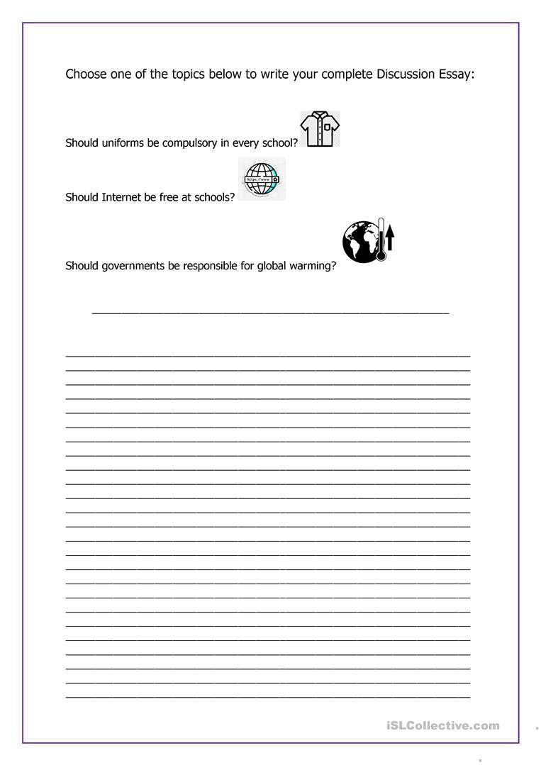 6th Grade Essay Writing Worksheets Writing A Discussion Essay English Esl Worksheets for