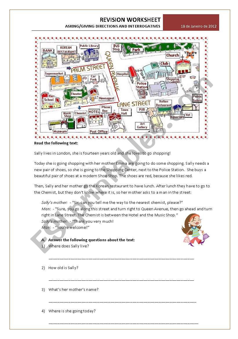 6th Grade Pronoun Worksheets Test 6th Grade asking Giving Directions and Interrogative