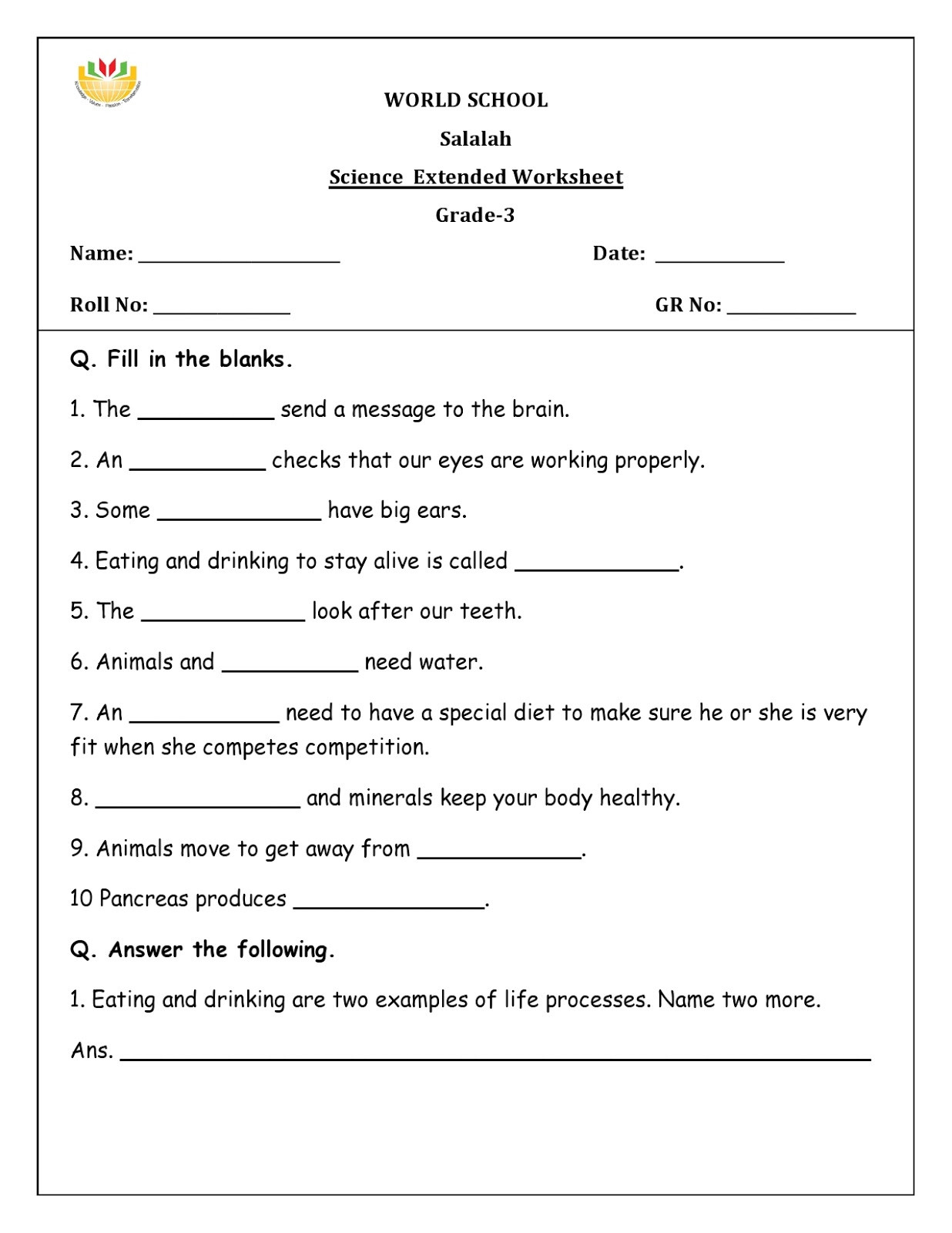 7 Grade Science Worksheets Science Worksheets for Grade to Educations Introduction